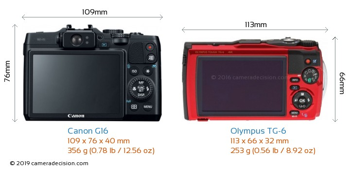Canon G16 vs Olympus TG-6 Camera Size Comparison - Back View