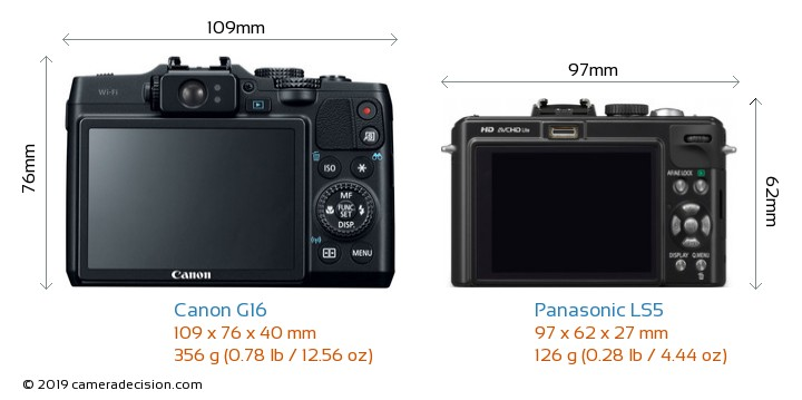 Canon G16 vs Panasonic LS5 Camera Size Comparison - Back View