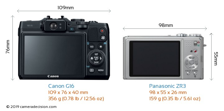 Canon G16 vs Panasonic ZR3 Camera Size Comparison - Back View