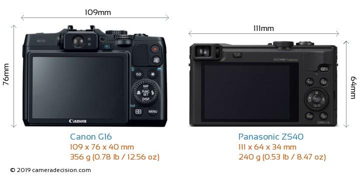 Canon G16 vs Panasonic ZS40 Camera Size Comparison - Back View