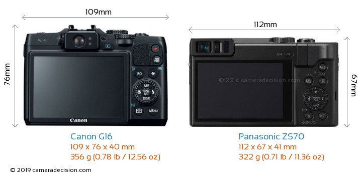 Canon G16 vs Panasonic ZS70 Camera Size Comparison - Back View
