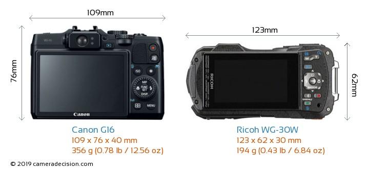 Canon G16 vs Ricoh WG-30W Camera Size Comparison - Back View