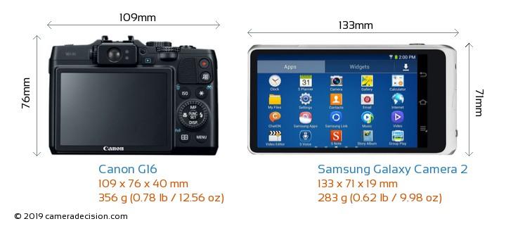 Canon G16 vs Samsung Galaxy Camera 2 Camera Size Comparison - Back View