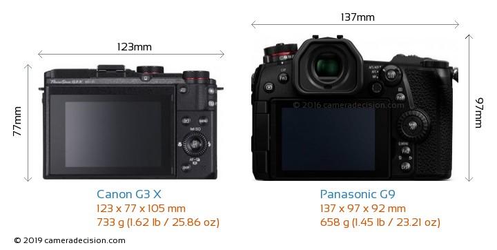 Canon G3 X vs Panasonic G9 Camera Size Comparison - Back View