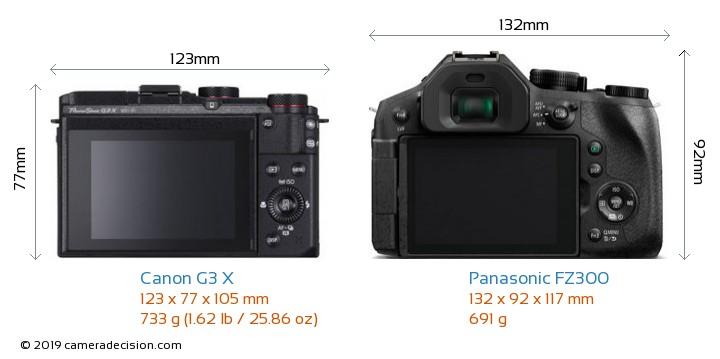 Canon G3 X vs Panasonic FZ300 Camera Size Comparison - Back View