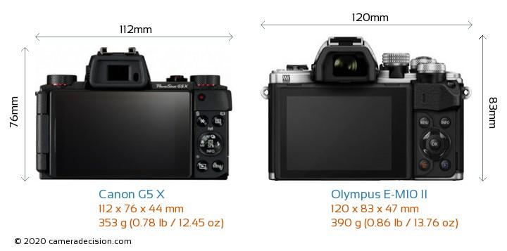 Canon G5 X vs Olympus E-M10 II Camera Size Comparison - Back View