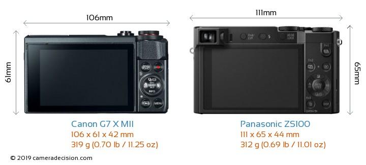 Canon G7 X MII vs Panasonic ZS100 Camera Size Comparison - Back View