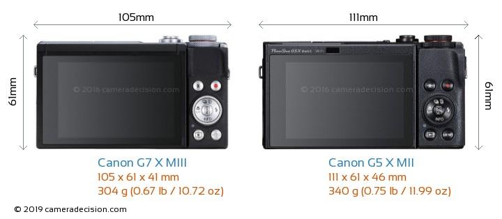 Canon G7 X MIII vs Canon G5 X MII Camera Size Comparison - Back View