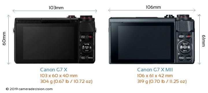 Canon G7 X vs Canon G7 X MII Camera Size Comparison - Back View