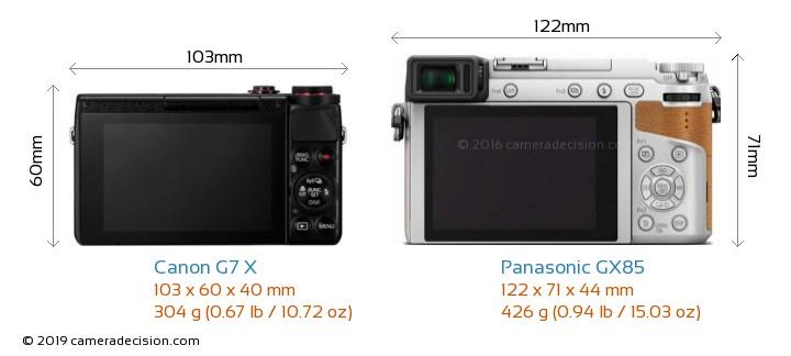 Canon G7 X vs Panasonic GX85 Camera Size Comparison - Back View