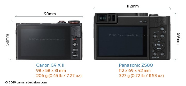 Canon G9 X II vs Panasonic ZS80 Camera Size Comparison - Back View