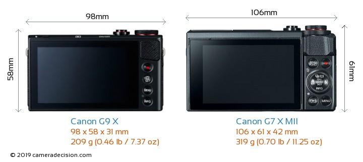 Canon G9 X vs Canon G7 X MII Camera Size Comparison - Back View