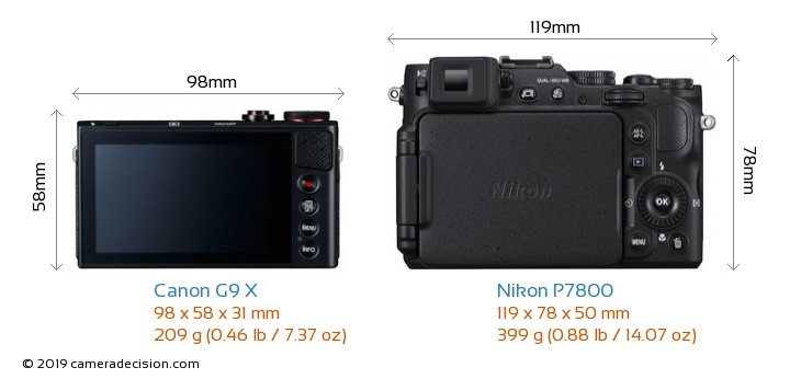 Canon G9 X vs Nikon P7800 Camera Size Comparison - Back View
