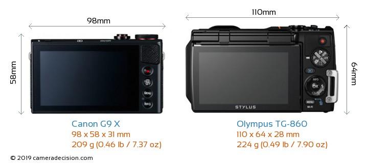 Canon G9 X vs Olympus TG-860 Camera Size Comparison - Back View