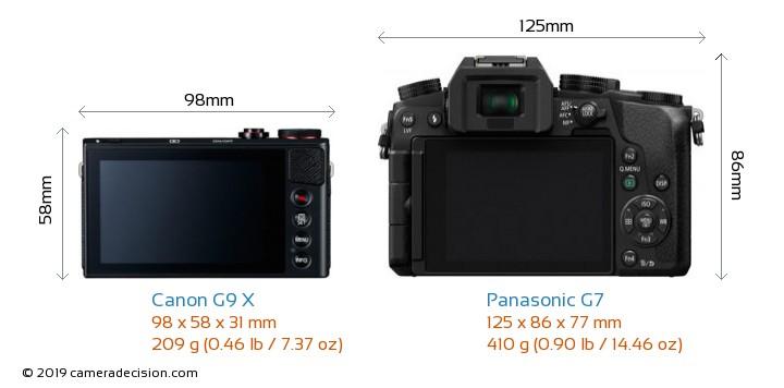 Canon G9 X vs Panasonic G7 Camera Size Comparison - Back View