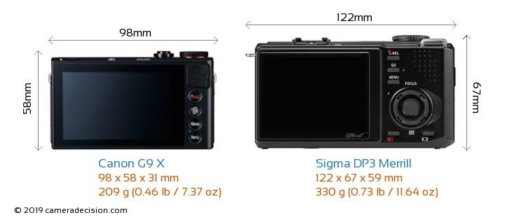 Canon G9 X vs Sigma DP3 Merrill Camera Size Comparison - Back View