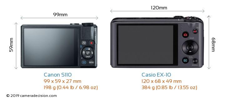 Canon S110 vs Casio EX-10 Camera Size Comparison - Back View