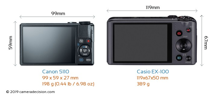 Canon S110 vs Casio EX-100 Camera Size Comparison - Back View