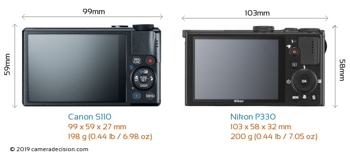 Canon S110 vs Nikon P330 Camera Size Comparison - Back View
