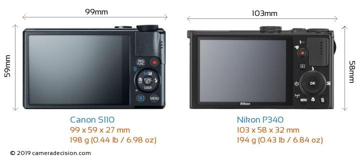 Canon S110 vs Nikon P340 Camera Size Comparison - Back View
