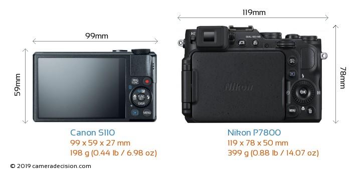 Canon S110 vs Nikon P7800 Camera Size Comparison - Back View