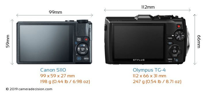 Canon S110 vs Olympus TG-4 Camera Size Comparison - Back View