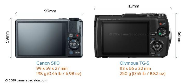 Canon S110 vs Olympus TG-5 Camera Size Comparison - Back View