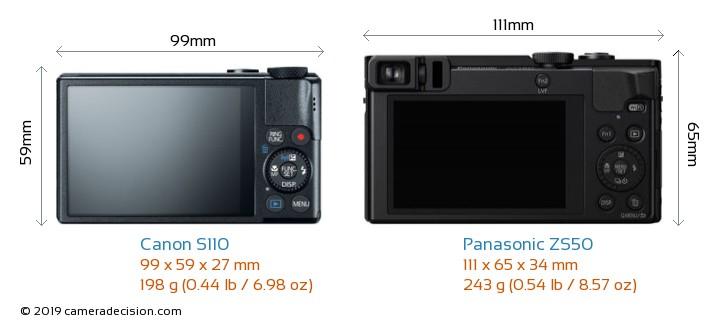 Canon S110 vs Panasonic ZS50 Camera Size Comparison - Back View