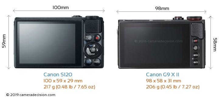 Canon S120 vs Canon G9 X II Camera Size Comparison - Back View