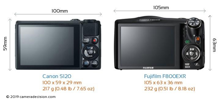 Canon S120 vs Fujifilm F800EXR Camera Size Comparison - Back View