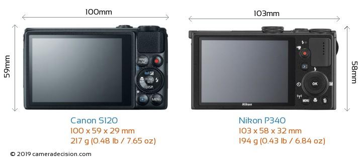 Canon S120 vs Nikon P340 Camera Size Comparison - Back View