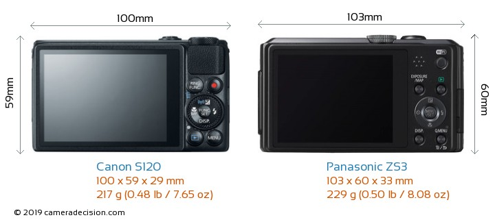 Canon S120 vs Panasonic ZS3 Camera Size Comparison - Back View