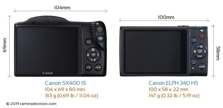 Canon SX400 IS vs Canon ELPH 340 HS Camera Size Comparison - Back View