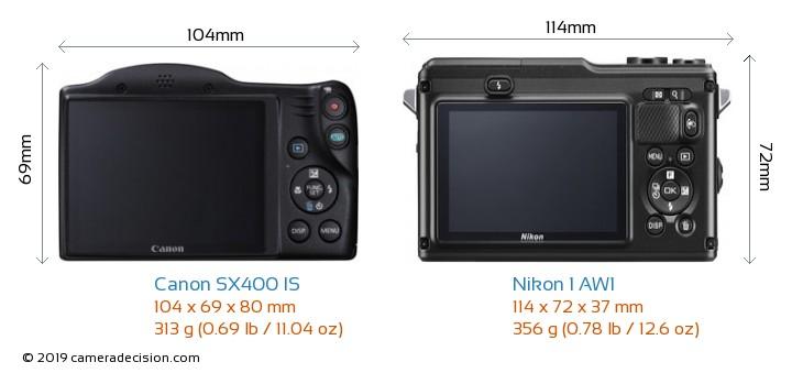 Canon SX400 IS vs Nikon 1 AW1 Camera Size Comparison - Back View