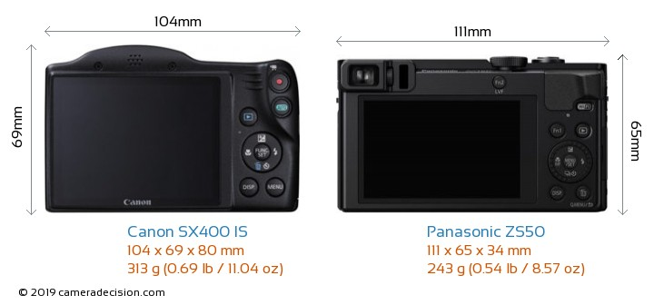 Canon SX400 IS vs Panasonic ZS50 Camera Size Comparison - Back View