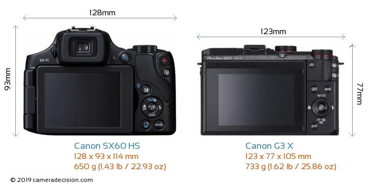 Canon SX60 HS vs Canon G3 X Camera Size Comparison - Back View
