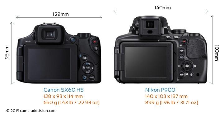 Canon SX60 HS vs Nikon P900 Camera Size Comparison - Back View