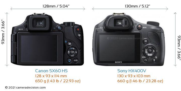 Canon SX60 HS vs Sony HX400V Camera Size Comparison - Back View