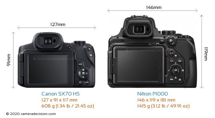 Canon SX70 HS vs Nikon P1000 Camera Size Comparison - Back View