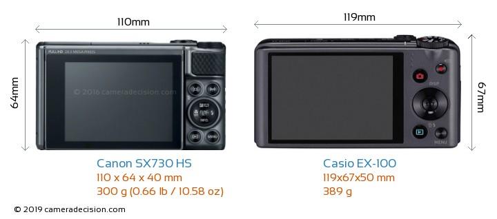Canon SX730 HS vs Casio EX-100 Camera Size Comparison - Back View