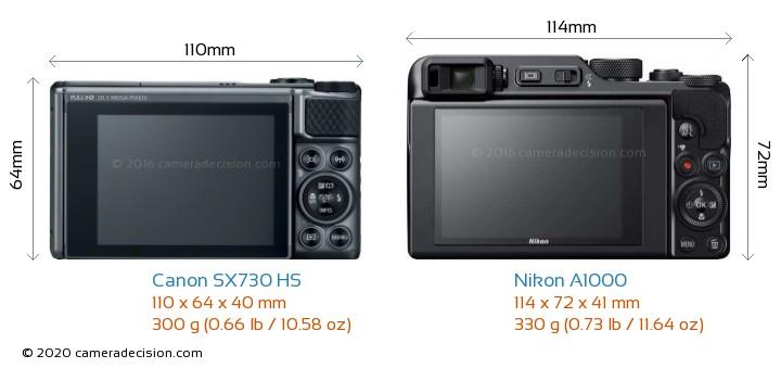 Canon SX730 HS vs Nikon A1000 Camera Size Comparison - Back View