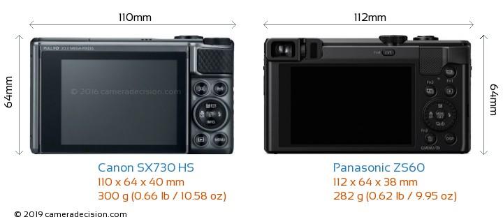 Canon SX730 HS vs Panasonic ZS60 Camera Size Comparison - Back View