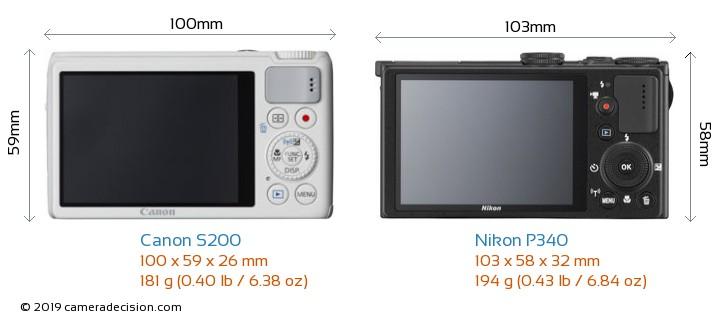 Canon S200 vs Nikon P340 Camera Size Comparison - Back View