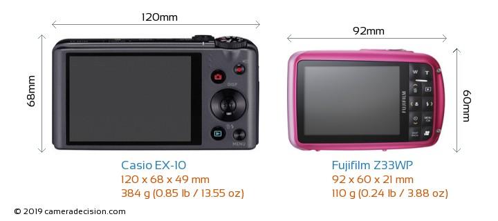 Casio EX-10 vs Fujifilm Z33WP Camera Size Comparison - Back View