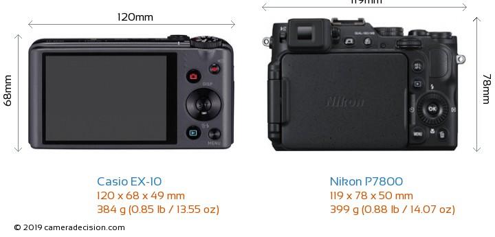 Casio EX-10 vs Nikon P7800 Camera Size Comparison - Back View