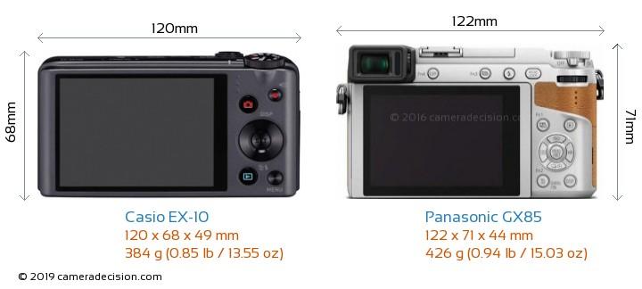 Casio EX-10 vs Panasonic GX85 Camera Size Comparison - Back View