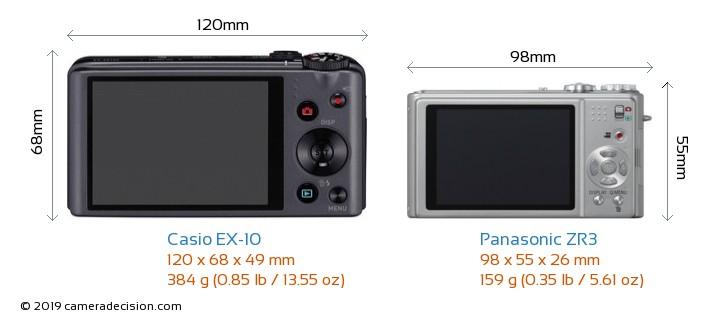 Casio EX-10 vs Panasonic ZR3 Camera Size Comparison - Back View