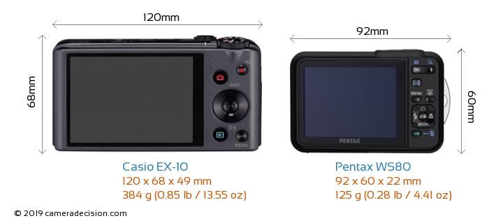 Casio EX-10 vs Pentax WS80 Camera Size Comparison - Back View