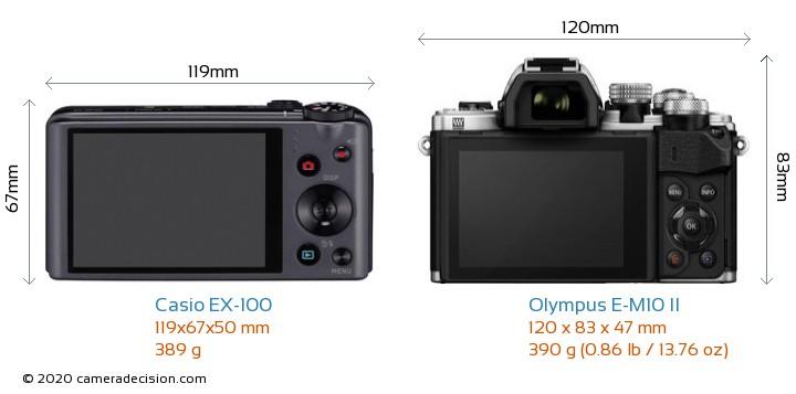 Casio EX-100 vs Olympus E-M10 II Camera Size Comparison - Back View