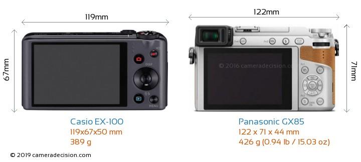 Casio EX-100 vs Panasonic GX85 Camera Size Comparison - Back View